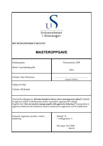 MASTEROPPGAVE - Universitetet i Stavanger