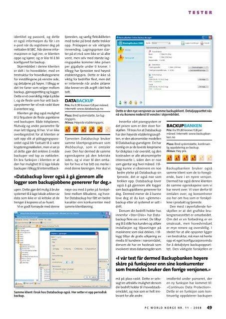 her kan du lese hele backup-testen - Telsys AS
