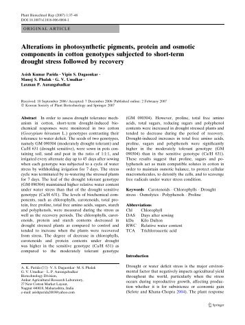 Alterations in photosynthetic pigments, protein and osmotic ...