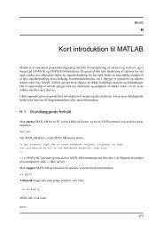 Kort introduktion til MATLAB