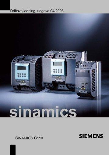 Driftsvejledning, udgave 04/2003 SINAMICS G110 - Siemens AS