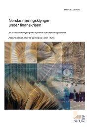 Norske næringsklynger under finanskrisen. En studie av ... - NIFU Step