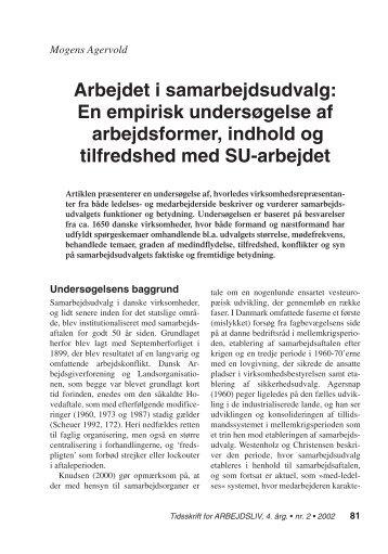 Arbejdet i samarbejdsudvalg: En empirisk ... - Nyt om Arbejdsliv