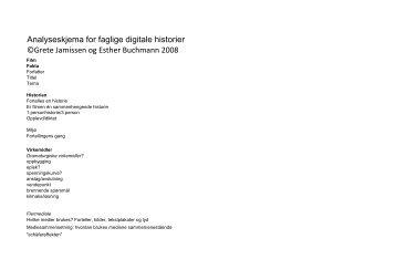 Analyseskjema for faglige digitale historier ©Grete Jamissen og ...