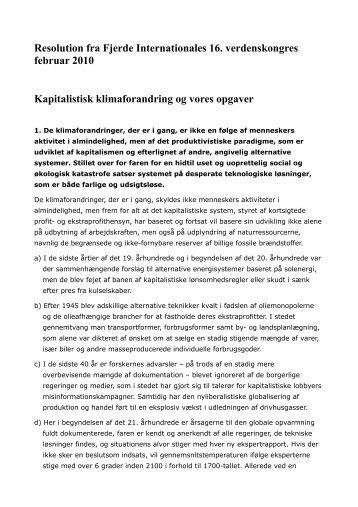 Resolution fra Fjerde Internationales 16. verdenskongres februar ...