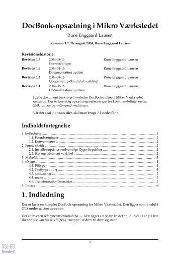 DocBook-opsætning i Mikro Værkstedet - OASIS Mailing List Directory
