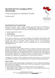 Specialebeskrivelse og faglig profil for Anæstesiologi