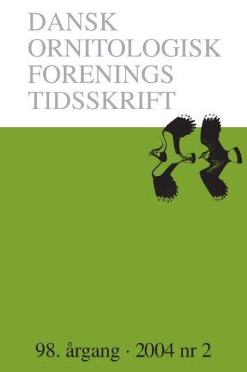 DANSK ORNITOLOGISK FORENINGS TIDSSKRIFT
