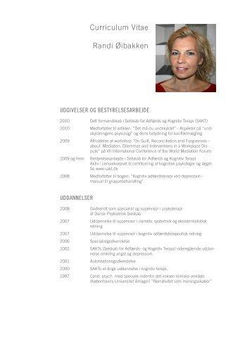 Curriculum Vitae Randi Øibakken - psykologkonsulenterne