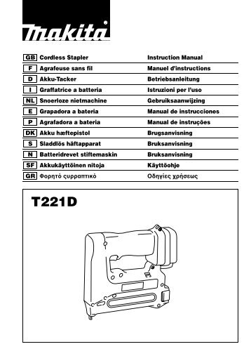GB Cordless Stapler Instruction Manual F Agrafeuse sans fil ... - Makita