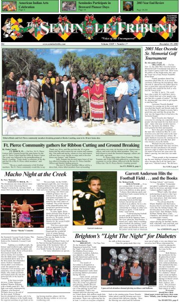 December 19 - Seminole Tribe of Florida