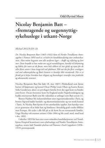 Nicolay Benjamin Batt – «fremragende og uegennyttig ... - Michael