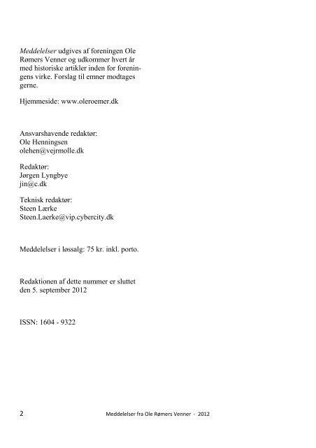 Meddelelser 2012 - Ole Rømers Venner