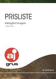 Prisliste 2010 - AJ Grus Fiirgaarde A/S