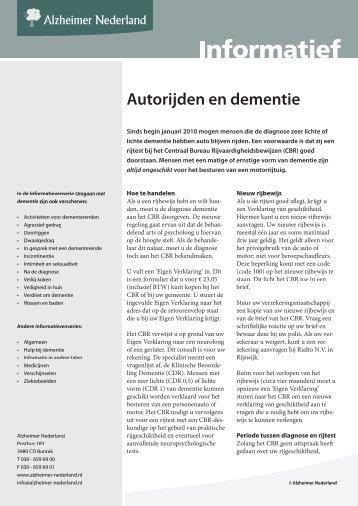 Autorijden en dementie - Alzheimer Nederland