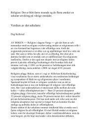 Kommentar av Dag Kullerud - Stiftelsen Kirkeforskning KIFO