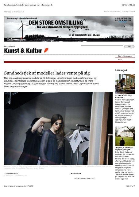Sundhedstjek af modeller lader vente på sig - Foreningen Danske ...