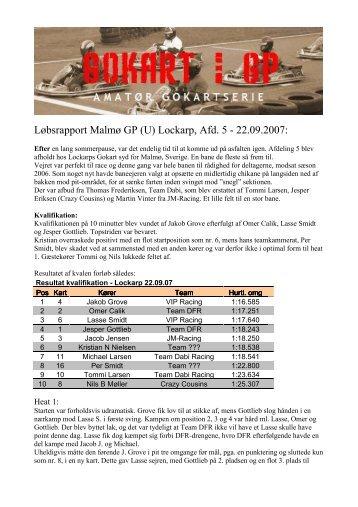 Løbsrapport Malmø GP (U) Lockarp, Afd. 5 - 22.09.2007: