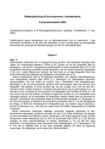 Rettevejledning til kursusprøven i immaterialret Forårssemesteret ...