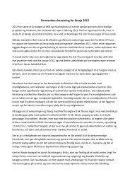 Formandens beretning for faraja 2012