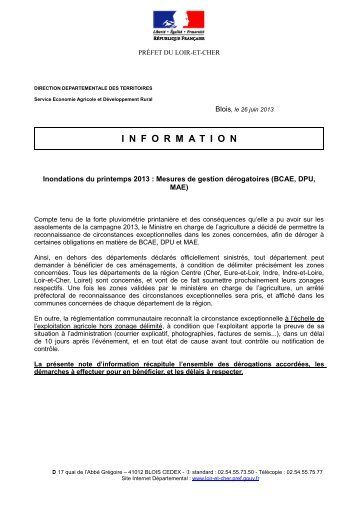 Note information ddt37 d rogation pr fecture for Chambre agriculture indre