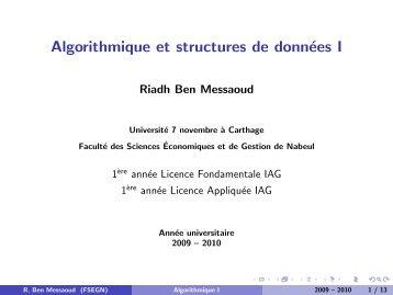 Algorithmique et structures de données I - Faculté des Sciences ...