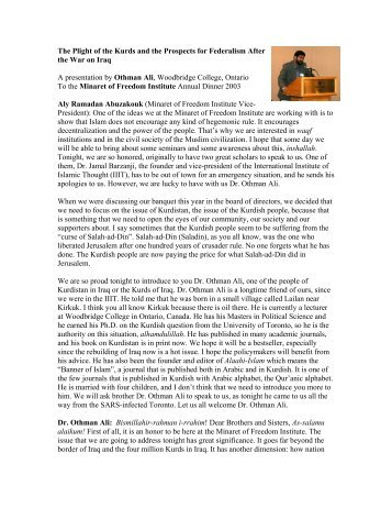 The Plight of the Kurds and the Prospects for Federalism - Minaret of ...