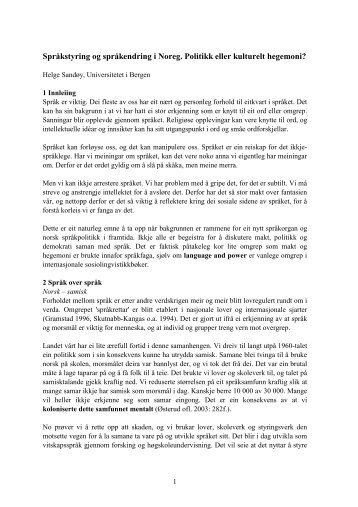 Språkstyring og språkendring i Noreg. Politikk eller kulturelt ...