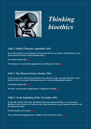 Thinking bioethics