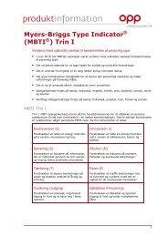 Myers-Briggs Type Indicator (MBTI ) Trin I - OPP - Eu.com