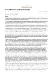 Bertelsen Bilers klage over Toyota Danmark A/S - Concurrences