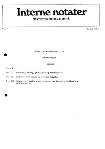 Folke- og boligtelling 1970. Dokumentasjon - Statistisk sentralbyrå