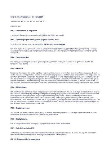 Referat af bestyrelsesmøde 31. marts 2009 Til stede: MK ... - Lambda