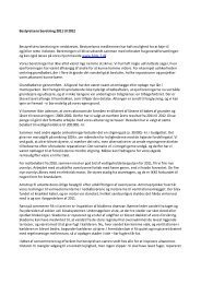 Bestyrelsens beretning til Bestyrelsens beretning er nedskrevet ...