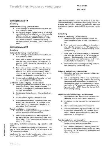 Tyverisikringsniveauer og varegrupper - Alm. Brand
