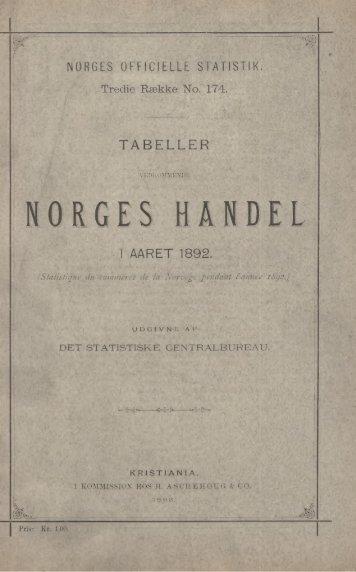Tabeller Vedkommende Norges Handel i Aaret 1892 - SSB
