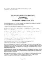 Matematik - Institut for Matematiske Fag - Københavns Universitet
