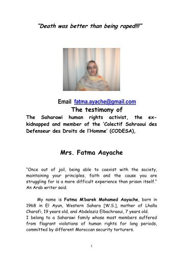Read Fatma Aayache's testimony - Australia Western Sahara ...