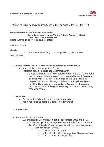 Referat fra bestyrelsesmødet 10. august 2010 - Kræftens ...