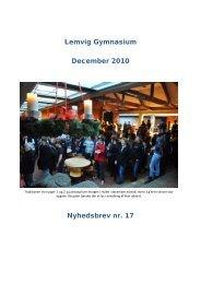 Lemvig Gymnasium December 2010 Nyhedsbrev nr. 17