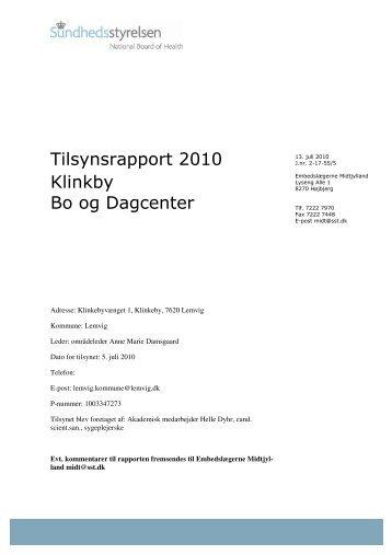 Tilsynsrapport 2010 Klinkby Bo og Dagcenter - Lemvig Kommune