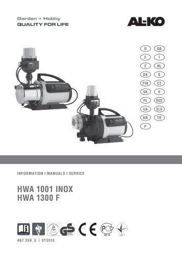 HWA 1001 INOX HWA 1300 F - AL-KO Garten + Hobby