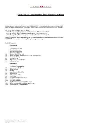 Chartis Ferierejseforsikring Care4Life_260510 - ProSam Forsikring