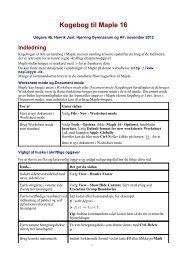 Kogebog til Maple 16 - Hjørring Gymnasium og HF-kursus