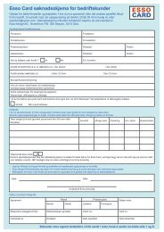Esso Card søknadsskjema for bedriftskunder - ExxonMobil