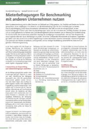 Mieterbefragungen für Benchmarking mit ... - Analyse & Konzepte