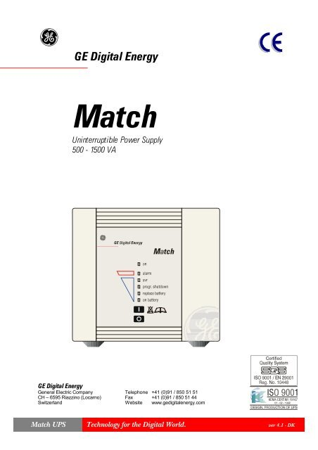 USER MANUAL MATCH 500-1500 UPS - Metric