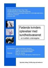 Fødende kvinders oplevelser med sundhedsvæsenet - Enheden for ...