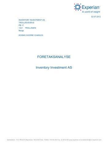 Se vurderingen av Inventory Investment - Inventory Investment AS