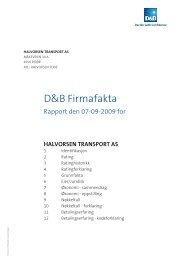D&B Firmafakta - Halvorsen Transport AS